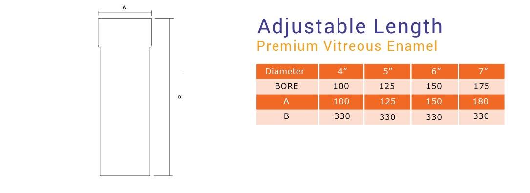 premium vitreous adjustable length