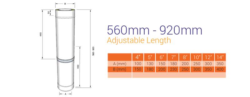 black twin wall 560 920 adjustable length