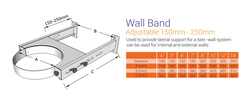 Wall Support 150 - 250mm